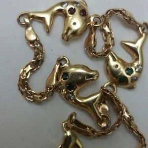 Jewelry - 14k YG Diamond Sapphire Ruby Emerald Bracelet